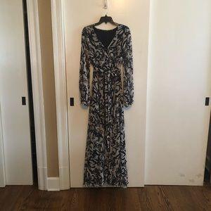 Gorgeous navy print chiffon dress